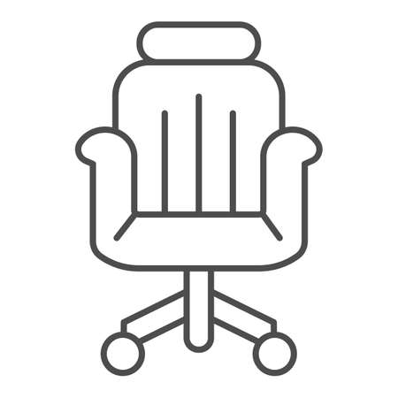 Office chair thin line icon, Coworking concept, office armchair sign on white background, chair icon in outline style for mobile concept and web design. Vector graphics.