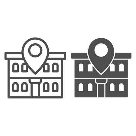 Office building and map pin line and solid icon, Coworking concept, Building on map sign on white background, Office location pin icon in outline style for mobile concept, web design. Vector graphics.