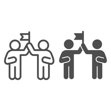 Two people and flag line and solid icon, Coworking concept, partnership sign on white background, teamwork collaboration icon in outline style for mobile concept and web design. Vector graphics.