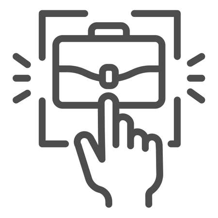 Hand pointer and briefcase line icon, Coworking concept, choice of profession sign on white background, Human hand touching portfolio icon in outline style for mobile, web. Vector graphics. Ilustração
