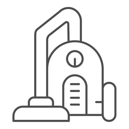 Vacuum cleaner thin line icon, Coworking concept, office regular cleaning sign on white background, cleaning equipment icon in outline style for mobile concept and web design. Vector graphics. Ilustração