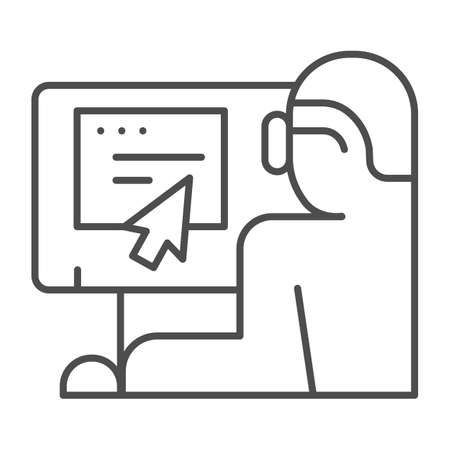 Man in glasses at monitor thin line icon, Coworking concept, freelancer at workplace sign on white background, Businessman working on laptop icon in outline style for mobile. Vector graphics.