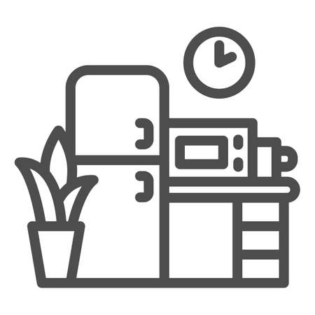 Kitchen line icon, Coworking concept, Furniture sign on white background, office kitchen icon in outline style for mobile concept and web design. Vector graphics. Ilustração