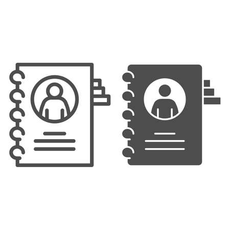 Employee questionnaire line and solid icon, Coworking concept, Career profile sign on white background, Employee file icon in outline style for mobile concept and web design. Vector graphics. Ilustração