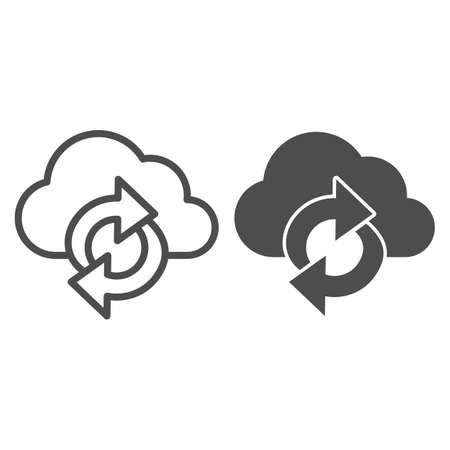 Cloud and arrows line and solid icon, Coworking concept, Data Sync sign on white background, cloud synchronization icon in outline style for mobile concept and web design. Vector graphics.