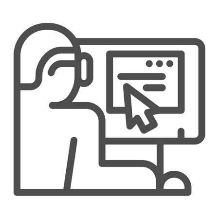 Man in glasses at monitor line icon, Coworking concept, freelancer at workplace sign on white background, Businessman working on laptop icon in outline style for mobile. Vector graphics.