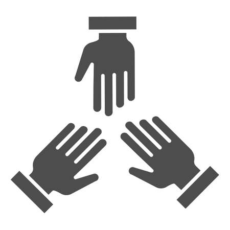 Three hands solid icon, Coworking concept, people cooperation sign on white background, teamwork symbol in glyph style for mobile concept and web design. Vector graphics. Ilustração