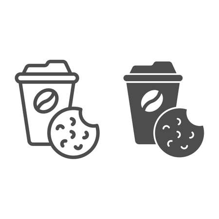 Coffee and biscuits line and solid icon, Coworking concept, office tea time sign on white background, Cup of coffee and cookie icon in outline style for mobile concept and web design. Vector graphics.