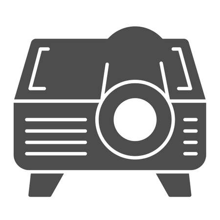 Projector solid icon, Coworking concept, video equipment sign on white background, Video projector icon in glyph style for mobile concept and web design. Vector graphics. Ilustração