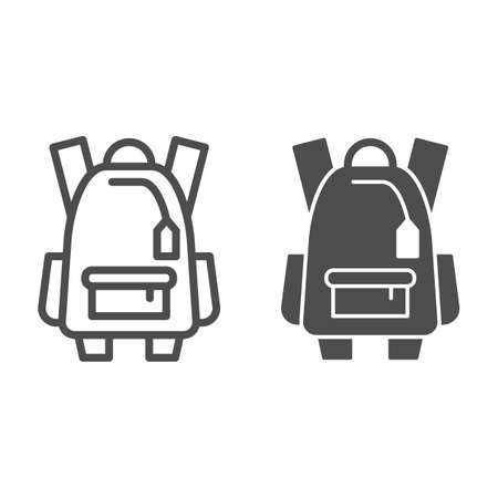 Sports backpack line and solid icon, tourism concept, Schoolbag sign on white background, backpack icon in outline style for mobile concept and web design. Vector graphics.