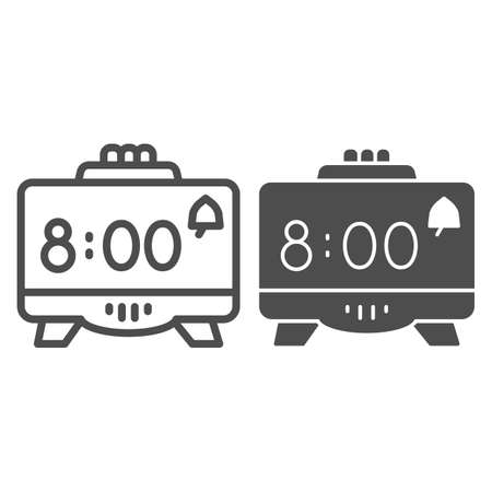 Digital alarm clock line and solid icon, Coworking concept, Retro electronic clock sign on white background, digital watch icon in outline style for mobile concept and web design. Vector graphics. Ilustração
