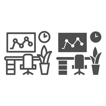 Workplace in the office line and solid icon, Coworking concept, Computer and desk sign on white background, Professional workplace icon in outline style for mobile and web design. Vector graphics.