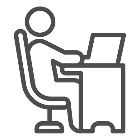 Man in chair at table with laptop line icon, Coworking concept, freelancer working on laptop sign on white background, Businessman working on computer icon in outline style. Vector graphics. Ilustração