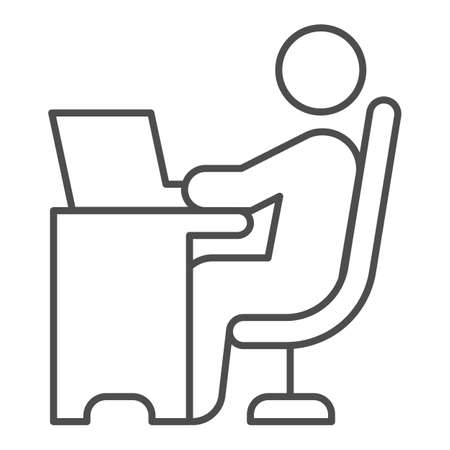 Man in chair at table with laptop thin line icon, Coworking concept, freelancer working on laptop sign on white background, Businessman working on computer icon in outline style. Vector graphics.