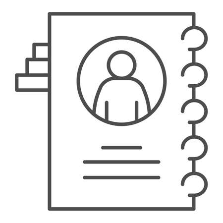 Employee questionnaire thin line icon, Coworking concept, Career profile sign on white background, Employee file icon in outline style for mobile concept and web design. Vector graphics. Ilustração