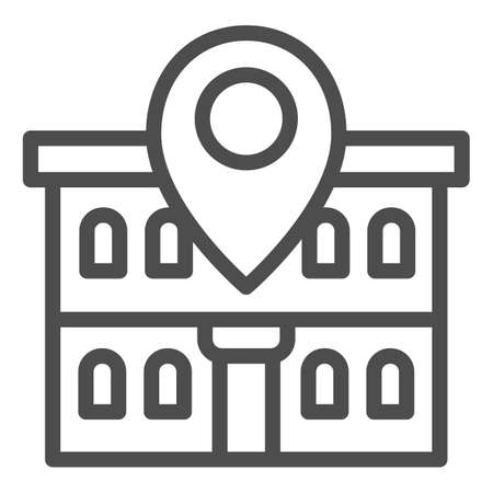 Office building and map pin line icon, Coworking concept, Building on map sign on white background, Office location pin icon in outline style for mobile concept, web design. Vector graphics. Ilustração