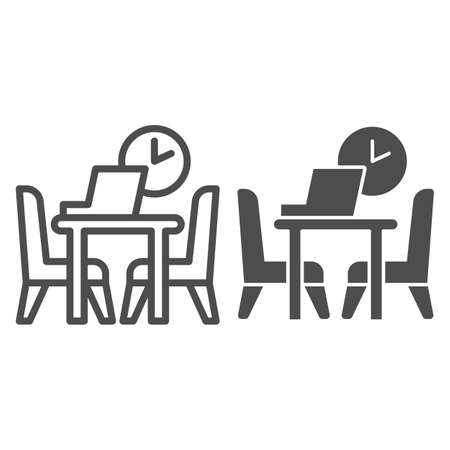 Table with laptop and chairs with clock line and solid icon, Coworking concept, Office workplace sign on white background, desk with computer and chairs icon in outline style. Vector graphics. Ilustração