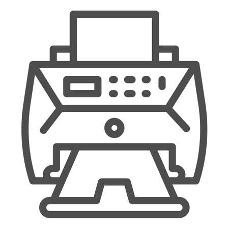 Laser printer line icon, Coworking concept, Laser printing apparatus sign on white background, Large office printer icon in outline style for mobile concept and web design. Vector graphics. Ilustração