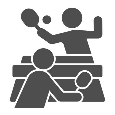 Table tennis and players solid icon, sport concept,  match sign on white background, People playing table tennis icon in glyph style for mobile and web design. Vector graphics. Ilustração