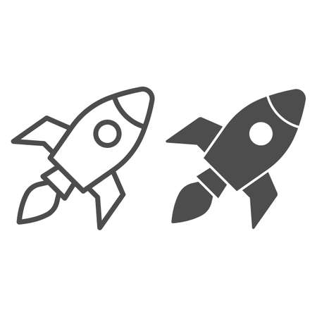 Rocket line and solid icon, Coworking concept, Start up business sign on white background, Rocket launch icon in outline style for mobile concept and web design. Vector graphics.