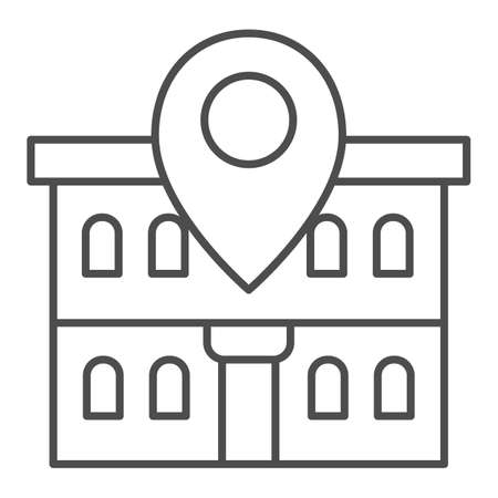 Office building and map pin thin line icon, Coworking concept, Building on map sign on white background, Office location pin icon in outline style for mobile concept, web design. Vector graphics.