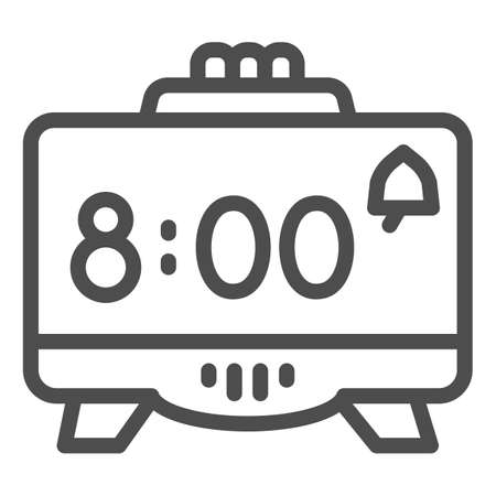 Digital alarm clock line icon, Coworking concept, Retro electronic clock sign on white background, digital watch icon in outline style for mobile concept and web design. Vector graphics.