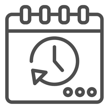Calendar with stopwatch line icon, Coworking concept, Task manager schedule sign on white background, Running calendar icon in outline style for mobile concept, web design. Vector graphics. Ilustração