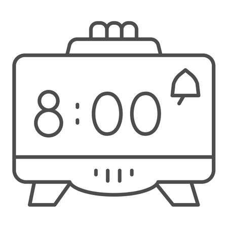 Digital alarm clock thin line icon, Coworking concept, Retro electronic clock sign on white background, digital watch icon in outline style for mobile concept and web design. Vector graphics. Ilustração