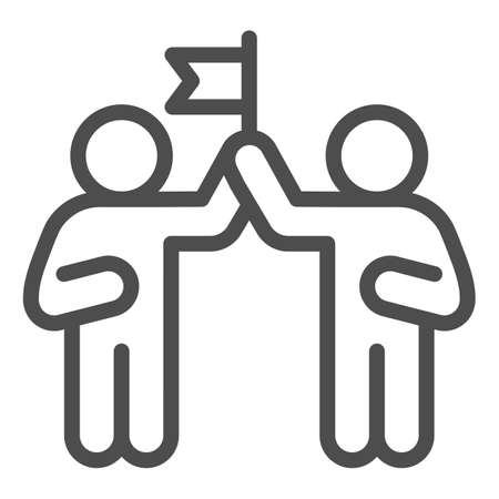 Two people and flag line icon, Coworking concept, partnership sign on white background, teamwork collaboration icon in outline style for mobile concept and web design. Vector graphics. Ilustração