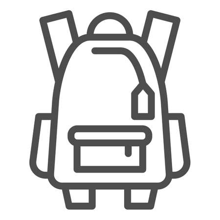 Sports backpack line icon, tourism concept, Schoolbag sign on white background, backpack icon in outline style for mobile concept and web design. Vector graphics.