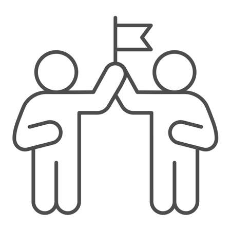 Two people and flag thin line icon, Coworking concept, partnership sign on white background, teamwork collaboration icon in outline style for mobile concept and web design. Vector graphics. Ilustração