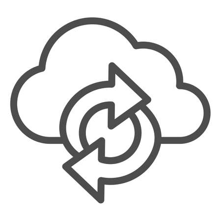 Cloud and arrows line icon, Coworking concept, Data Sync sign on white background, cloud synchronization icon in outline style for mobile concept and web design. Vector graphics. Ilustração