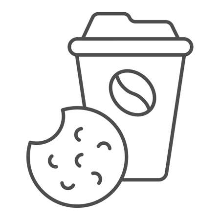 Coffee and biscuits thin line icon, Coworking concept, office tea time sign on white background, Cup of coffee and cookie icon in outline style for mobile concept and web design. Vector graphics.