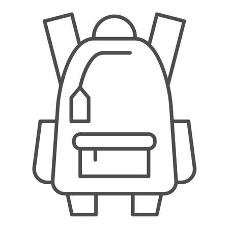 Sports backpack thin line icon, tourism concept, Schoolbag sign on white background, backpack icon in outline style for mobile concept and web design. Vector graphics.