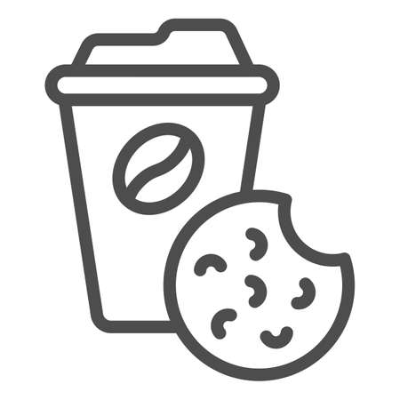 Coffee and biscuits line icon, Coworking concept, office tea time sign on white background, Cup of coffee and cookie icon in outline style for mobile concept and web design. Vector graphics.
