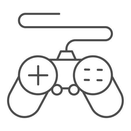 Gamepad thin line icon, Coworking concept, joystick sign on white background, controller for video games icon in outline style for mobile concept and web design. Vector graphics. Ilustração