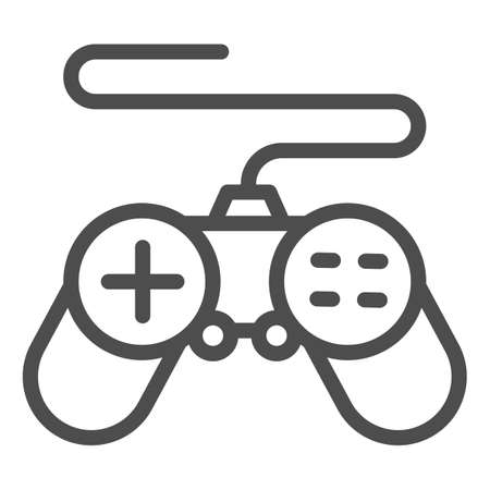 Gamepad line icon, Coworking concept, joystick sign on white background, controller for video games icon in outline style for mobile concept and web design. Vector graphics. Ilustração