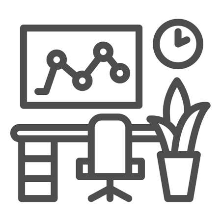 Workplace in the office line icon, Coworking concept, Computer and desk sign on white background, Professional workplace icon in outline style for mobile and web design. Vector graphics. Ilustração