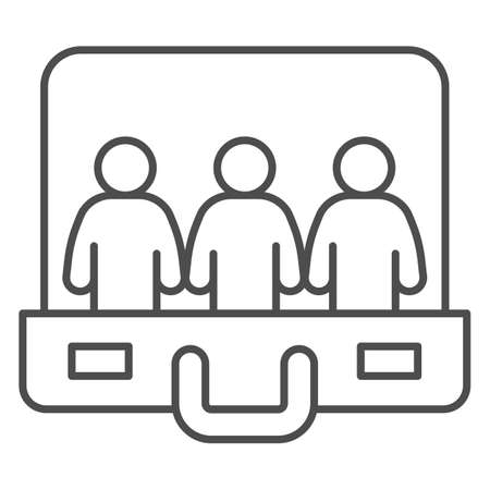 Staff in briefcase thin line icon, Coworking concept, human resources and job seeking sign on white background, briefcase and employee silhouette icon in outline style. Vector graphics.