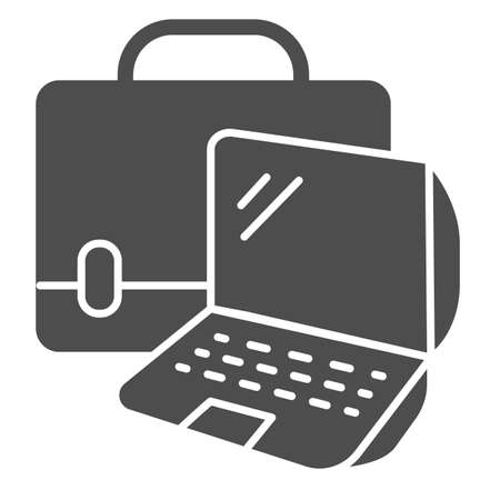 Laptop and handbag solid icon, Coworking concept, Notebook case sign on white background, Bag with laptop icon in glyph style for mobile concept and web design. Vector graphics.