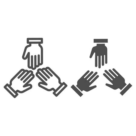 Three hands line and solid icon, Coworking concept, people cooperation sign on white background, teamwork symbol in outline style for mobile concept and web design. Vector graphics.