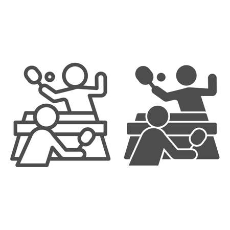 Table tennis and players line and solid icon, sport concept,  match sign on white background, People playing table tennis icon in outline style for mobile and web design. Vector graphics. Ilustração