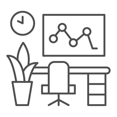 Workplace in the office thin line icon, Coworking concept, Computer and desk sign on white background, Professional workplace icon in outline style for mobile and web design. Vector graphics.