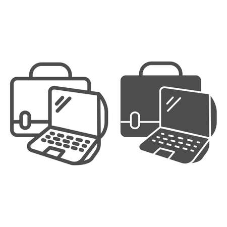 Laptop and handbag line and solid icon, Coworking concept, Notebook case sign on white background, Bag with laptop icon in outline style for mobile concept and web design. Vector graphics. Ilustração