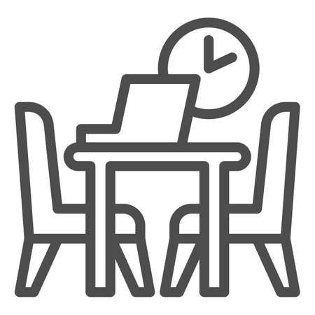 Table with laptop and chairs with clock line icon, Coworking concept, Office workplace sign on white background, desk with computer and chairs icon in outline style. Vector graphics.