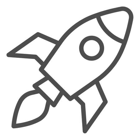 Rocket line icon, Coworking concept, Start up business sign on white background, Rocket launch icon in outline style for mobile concept and web design. Vector graphics. Ilustração