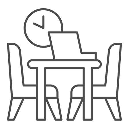 Table with laptop and chairs with clock thin line icon, Coworking concept, Office workplace sign on white background, desk with computer and chairs icon in outline style. Vector graphics.