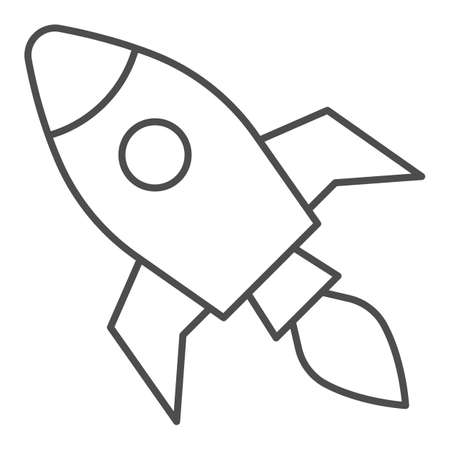 Rocket thin line icon, Coworking concept, Start up business sign on white background, Rocket launch icon in outline style for mobile concept and web design. Vector graphics. Ilustração