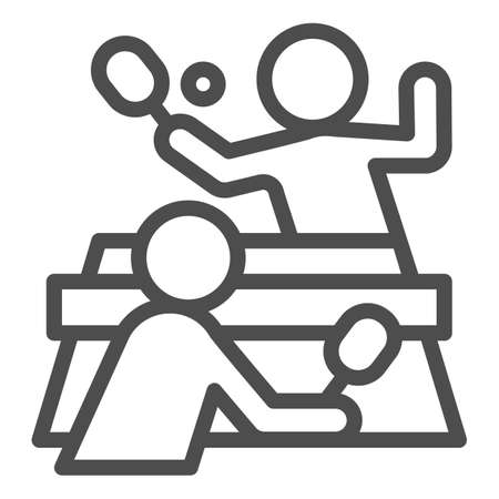 Table tennis and players line icon, sport concept,  match sign on white background, People playing table tennis icon in outline style for mobile and web design. Vector graphics.