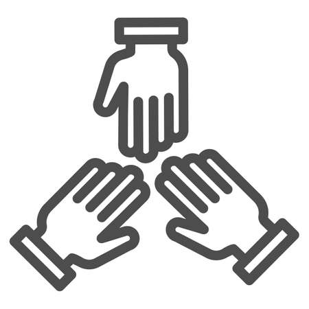 Three hands line icon, Coworking concept, people cooperation sign on white background, teamwork symbol in outline style for mobile concept and web design. Vector graphics.